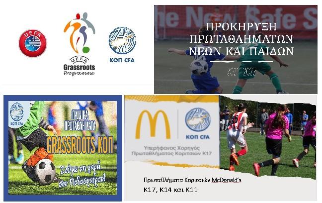 Όλες οι Πληροφορίες για τα Πρωταθλήματα Grassroots, Κοριτσιών, Παίδων και Νέων της Κ.Ο.Π.